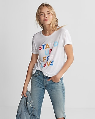 Express Womens Stand Up For Love Graphic Tee