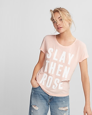 Express Womens Slay Then Rosé Graphic Tee