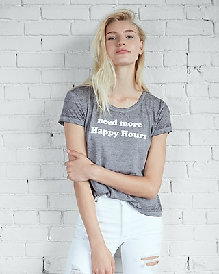 Express Womens Need More Happy Hours Boxy Graphic Tee