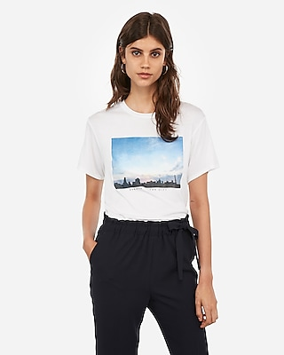 Express Womens Summer In The City Photo Graphic Boyfriend Tee White Women's M White M