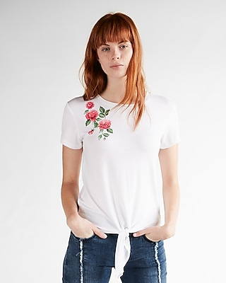 Express Womens Floral Front Knot Crew Neck Tee
