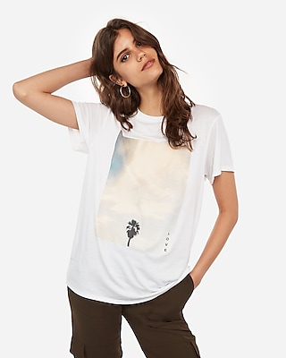 Express Womens Palm Tree Photo Graphic Boyfriend Tee White Women's L White L