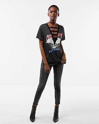 Express Womens Velvet Trim Graphic Boyfriend Tee