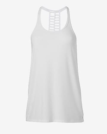 white EXP core double ladder racerback tank