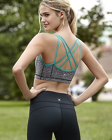 marled and teal EXP core strappy sports bra