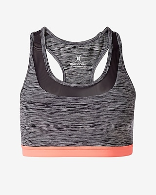 Express Womens Exp Core Marled Strappy Back Sports Bra