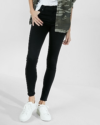 Express Womens Petite Mid Rise Black Jean Leggings