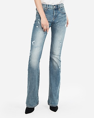 Express Womens Petite Mid Rise Distressed Stretch Barely Boot Jeans
