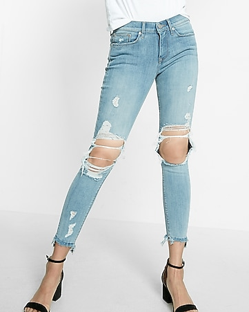 petite mid rise distressed frayed ankle jean legging