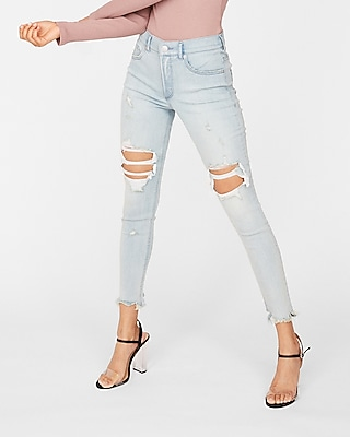 Express Womens Express Womens Petite High Waisted Light Wash Destroyed Denim Perfect S