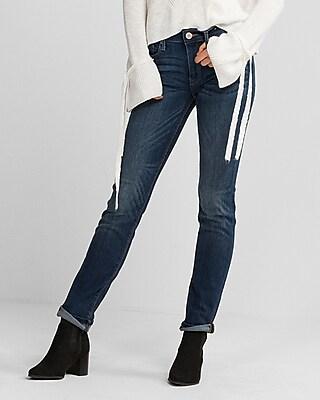 Express Womens Petite Mid Rise Medium Wash Stretch Skinny Jeans