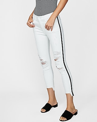 Express Womens Petite Mid Rise Side Stripe Distressed Stretch Cropped Jeggings, Women's Size:8 Petite White 8 Petite