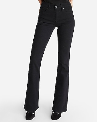 Express Womens Mid Rise Black Stretch Bootcut Jeans