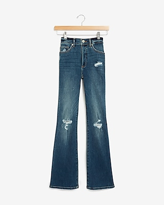 Express High Waisted Denim Perfect Ripped Bootcut Jeans