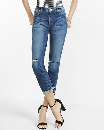 dark wash knee slit girlfriend jeans