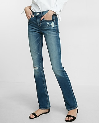 Mid Rise Distressed Barely Boot Jeans