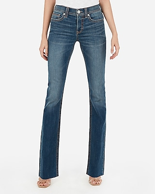 Express Womens Mid Rise Dark Wash Raw Barely Boot Stretch Jeans