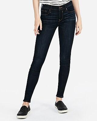 Express Womens Mid Rise Dark Wash Stretch Jeggings, Women's Size:18 Short Blue 18 Short