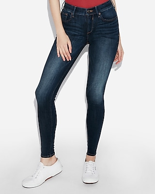 Express Mid Rise Dark Wash Jeggings