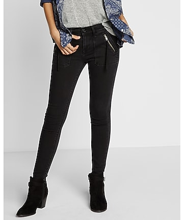 mid rise black ankle jean legging