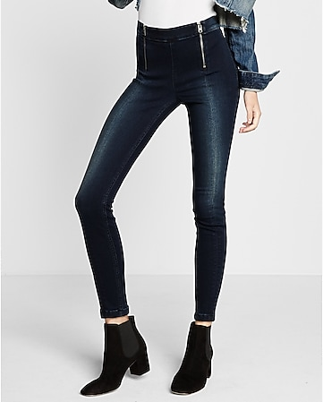 high waisted front zips ankle jean legging