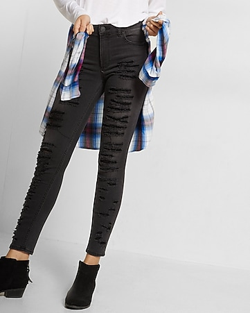 black high rise distressed ankle jean legging
