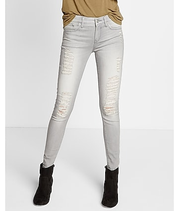 mid rise gray distressed jean leggings