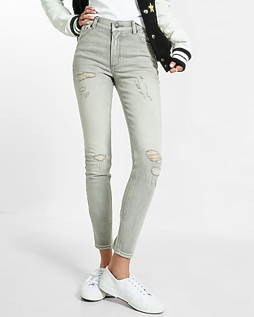 high waisted distressed gray ankle jean legging