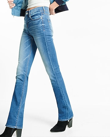 medium wash mid rise barely boot jean