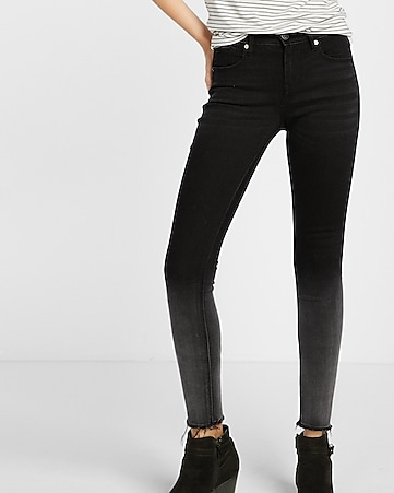mid rise ombre raw hem ankle jean legging