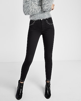 Express Womens High Waisted Laced Detail Ankle Jean Legging Black 0