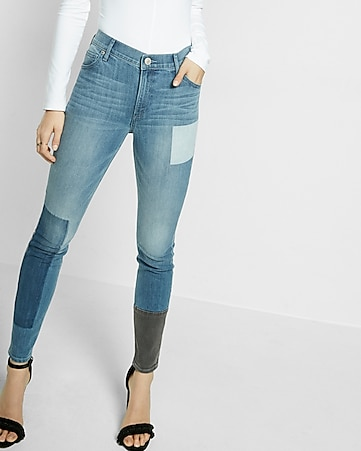 high waisted patch jean legging