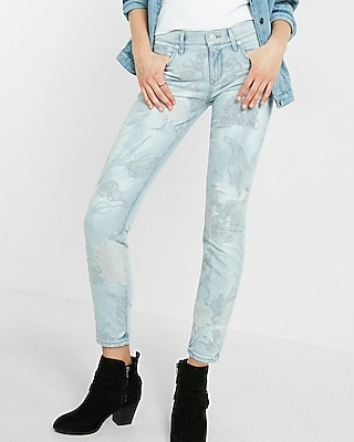 Express Womens Light Floral Embroidered Jean Legging Blue 16 Short