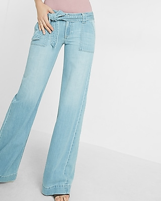 Express Womens Low Rise Extreme Wide Leg Flare Jeans
