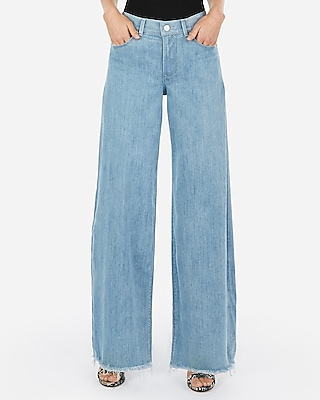 Express Womens High Waisted Light Wash Wide Leg Jeans