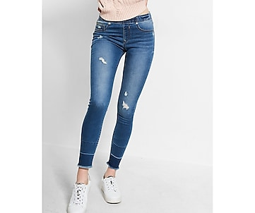 mid rise released hem supersoft pull on ankle jean legging