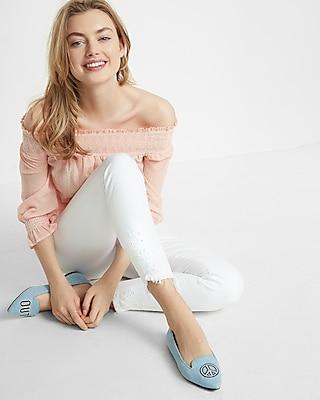 Express Womens White Mid Rise Eyelet Detail Ankle Jean Legging