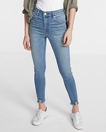 high waisted twist seam ankle jean legging