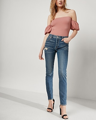 Express Womens High Waisted Original Vintage Skinny Ankle Jeans