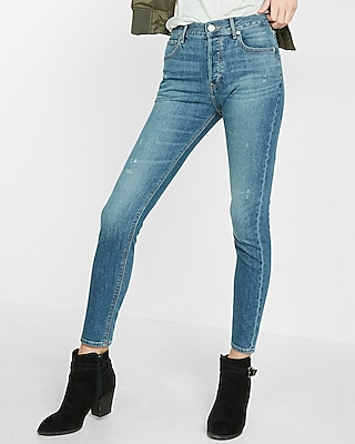 Express Womens High Waisted Vintage Skinny Ankle Jean Blue 00