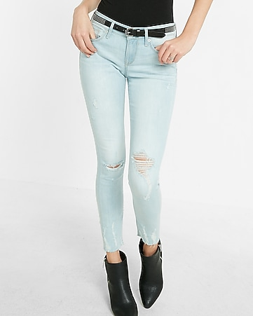high waisted distressed raw hem jean ankle legging