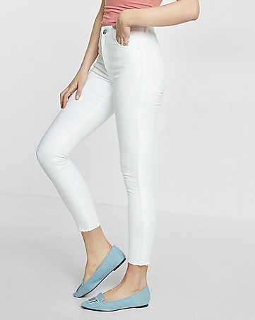 white high waisted side detail ankle jean legging