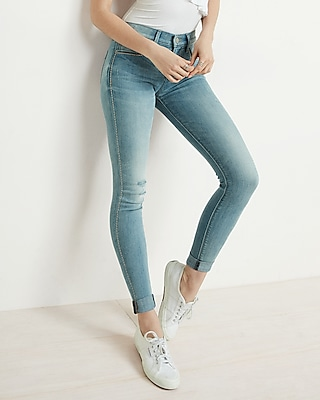 High Waisted Embroidered Cuffed Ankle Jean Legging