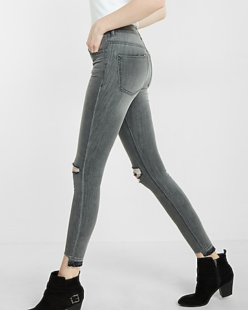 high waisted distressed knee and hem ankle jean legging