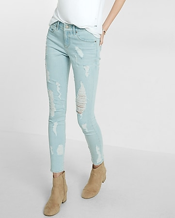 mid rise distressed jean ankle legging