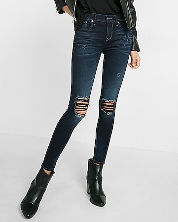 mid rise distressed knee super soft ankle legging