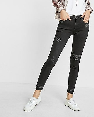 Express Womens Express Womens Black Mid Rise Distressed Ankle Jean Legging Black 00 Short