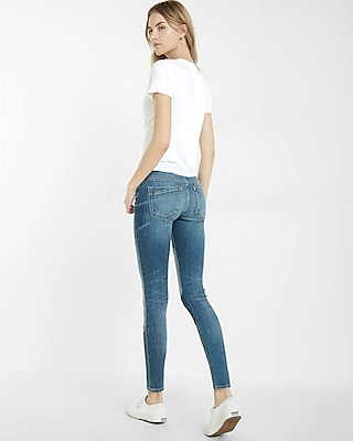 Express Womens Mid Rise Patch Ankle Jean Leggings