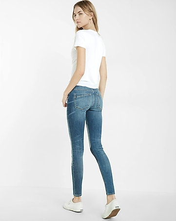 mid rise patch ankle jean legging
