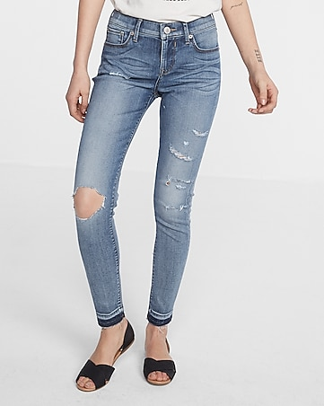 mid rise destroyed ankle jean legging